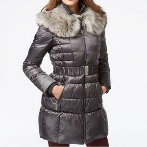 Betsey Johnson Cinch Waist Puffer w Fur Collar